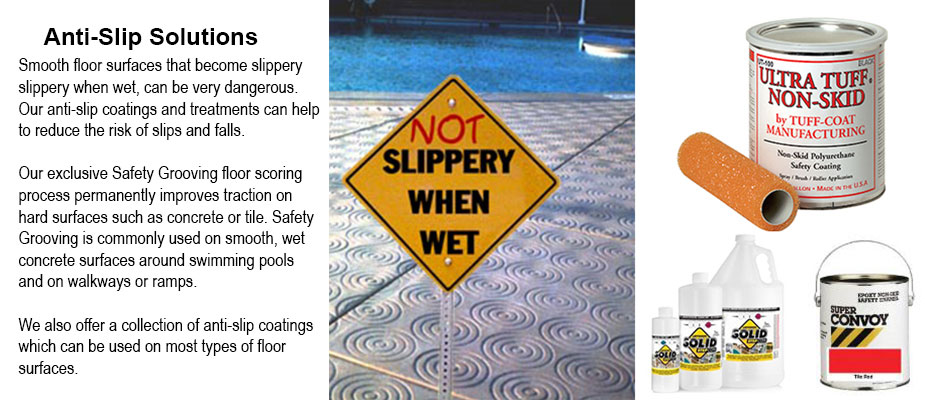 Safety Grooving - Not Slippery when Wet - Anti-Slip Coatings and Treatments