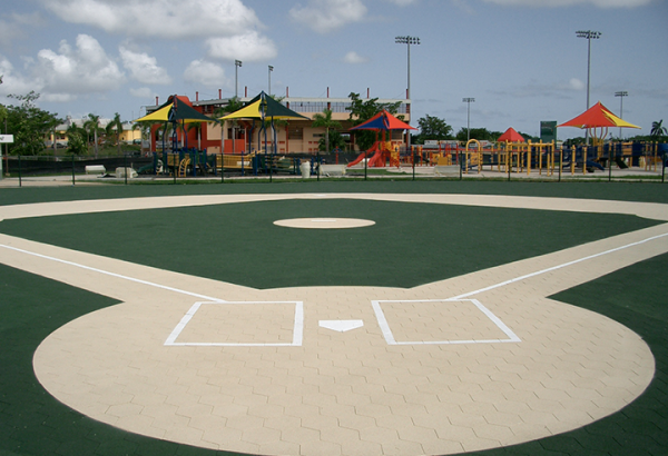 SofScape Rubber Pavers on a Miracle League Field - Recycled Rubber Paver - Rubber Patio Tiles - Rubber Decking - Playground Surfacing