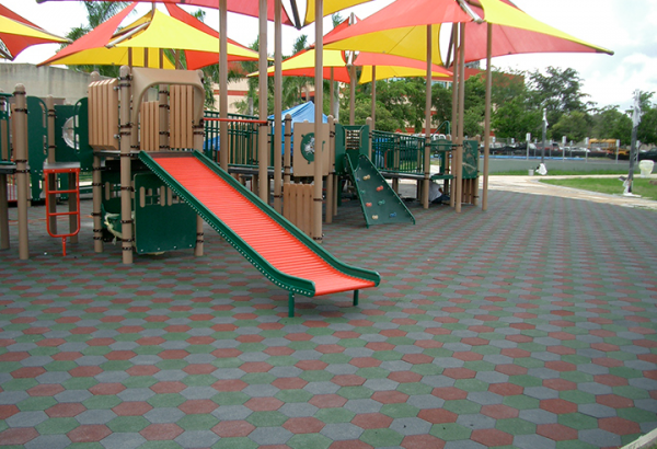 SofScape Hexagonal Rubber Paver Playground Application - Playground Surfacing - Interlocking Rubber Paver - Rubber Decking - Equine Flooring