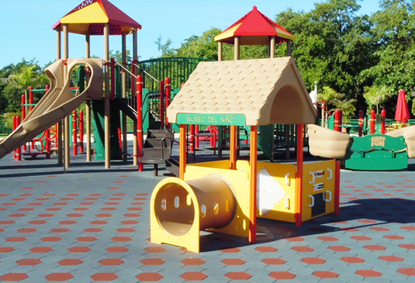 SofScape Playground Application - Hexagonal Recycled Rubber Paver - Equine Flooring - Rubber Decking - Playground Safety Surfacing