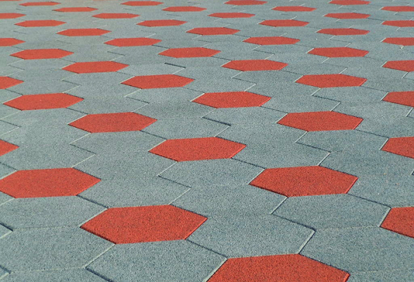 SofScape Hexagonal Rubber Paver - Rubber Patio Paver - Recycled Rubber Paver - Equine Flooring - Rubber Decking - Playground Surfacing