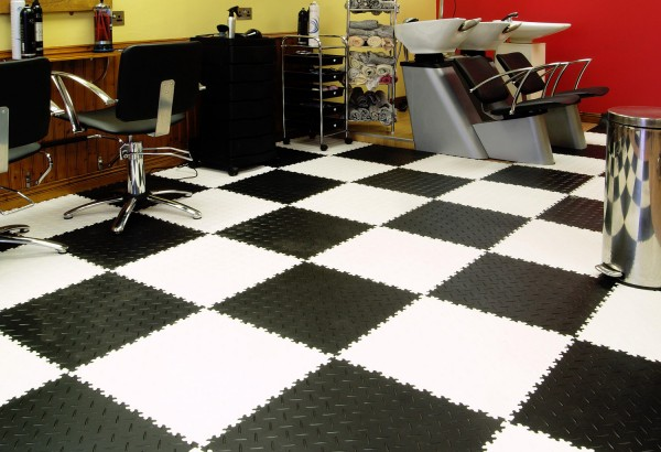 Perfection Interlocking Diamond Tile Salon Athletic Flooring Garage Trade Show