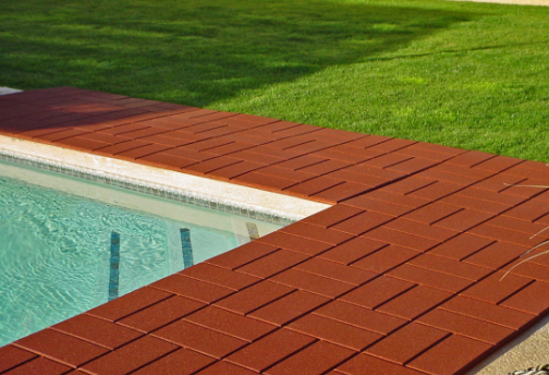 ... Patio; BrickTop Rubber Paver Tile On Pool Deck   Rubber Decking   Pool  Deck Covering   Driveway ...