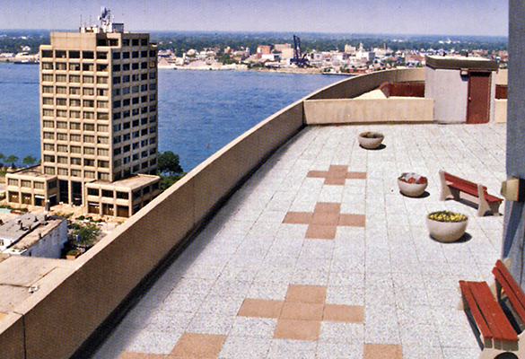 Riverside Rooftop Covered with SofTile Rubber Decking Tiles - Rubber Patio Surfacing - Interlocking Rubber Paver