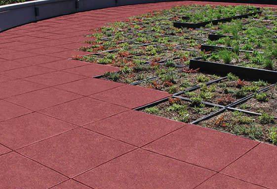 SofTile Rubber Decking Tile in a Garden - Interlocking Rubber Tile -Rubber Decking -Deck Tile