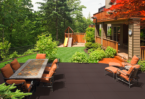 SofTile Rubber Decking Tiles on a Patio Deck - Rubber Patio Tiles- Interlocking Recycled Rubber Paver