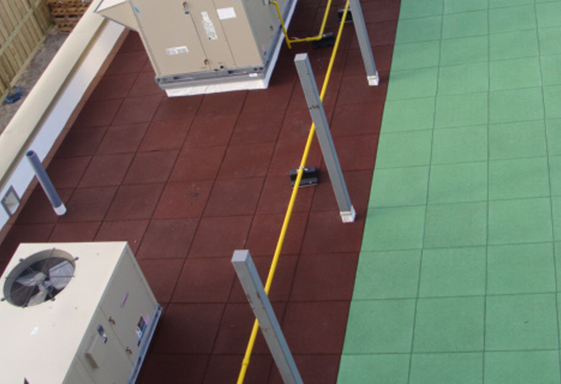 SofTile Rubber Decking Tiles Supporting an Air Conditioner, Rooftop Rubber Pad - Interlocking Rubber Deck Tile