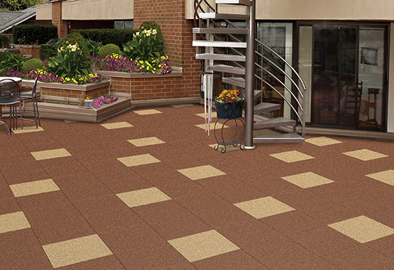 SofTile Rubber Decking Tiles  in Brown / Beige 2 - Outdoor Rubber Deck -  Patio Tile - Interlocking Rubber Paver