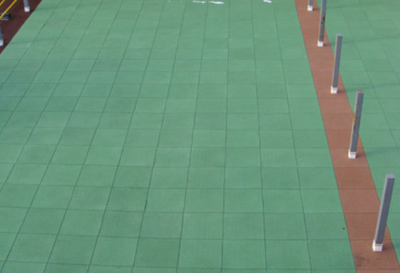 SofTile Rubber Decking Tile in  Green - Outdoor Rubber Paver -  Recycled Rubber Interlocking Tile