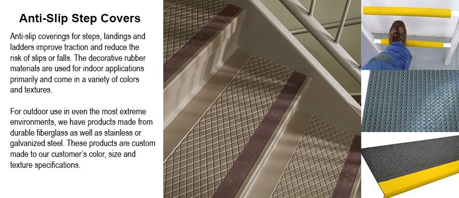 Anti-slip covers for steps, landings and ladder rungs