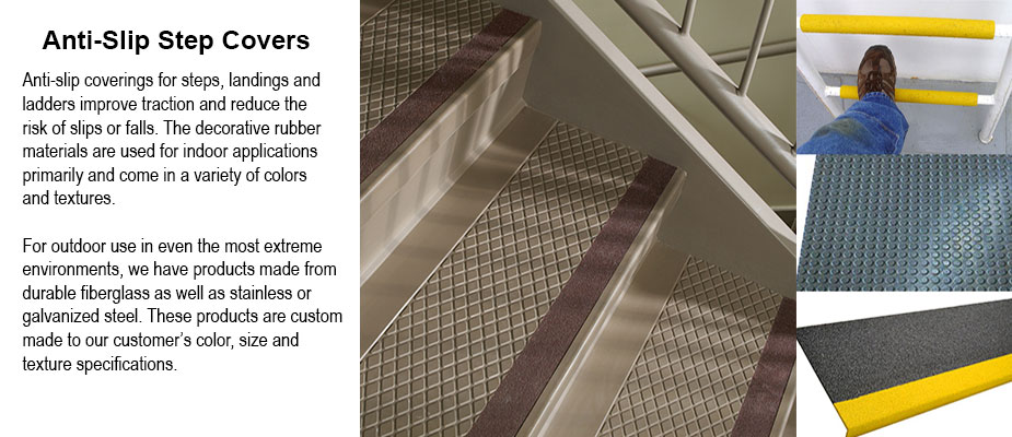 Anti-slip covers for steps, landings and ladder rungs - Rubber Step Covers